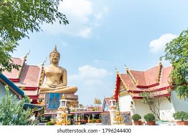 Sing Buri/Thailand -  August 13, 2020 : Statue of Luang Pho Prae, Wat Phikul Thong.