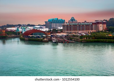 "Singapore, 01/03/2018, Sentosa Island. Sentosa island is a wonderful amusement island in Singapore. The name ""Sentosa"" means ""Peace and tranquility"". The island offers many attractions, amusement park"