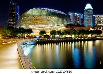 Singapore, 01/16/2018, Evening city. The Esplanade theater. The Esplanade is Singapore's center for the arts, located on the waterfront of Marina Bay. The complex is built in a modern modernist style.