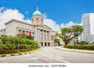 Singapore, 01/16/2018, old Supreme court building. In this building, the classic colonial British architecture, the court continued to operate until 2005, and today it houses the national gallery.