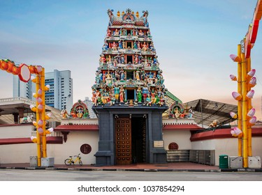 Singapore, 01/19/2018, Sri Mariamman Hindu Temple. Sri Mariamman temple is located in the heart of Singapore's old Chinatown. The building was built in 1843 in the style of South Indian architecture.