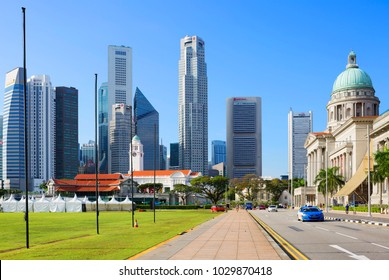Singapore, 01/21/2018, View along St. Andrew's street. Street in the Central area of Singapore. On the right in the picture is the former Supreme court of Singapore, today it houses the national galle