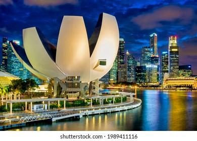 Singapore - 02 11 2016: Panoramic view of the ArtScience Museum