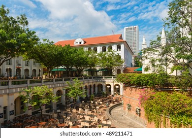 SINGAPORE - 02 JUN 2013: Courtyard with restaurants and bars in Chijmes. It is a historic building complex in Singapore.