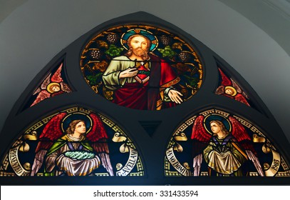 SINGAPORE - 02 JUN 2013: Stained-glass window in Chijmes hall old church  in Singapore.