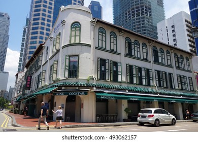 SINGAPORE - 02 OCT, 2016: Street view of Amoy Street in Singapore. Amoy Street is a one-way street located within Chinatown.