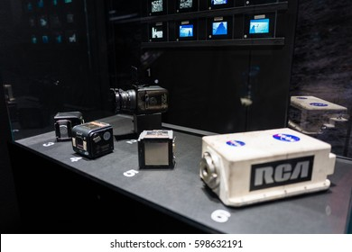 Singapore, 05 March 2017: Apollo moon landing plan, the camera used to photograph the moon, NASA - A HUMAN ADVENTURE exhibition at ARTSCIENCE MUSEUM, SINGAPORE