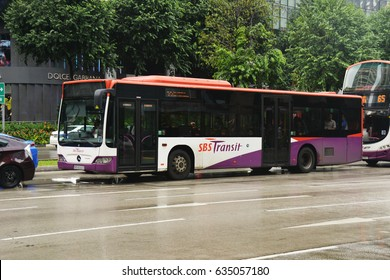 SINGAPORE - 05 March 2017: SBS Transit Bus (Public Bus) at Orchard Road.