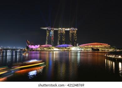 SINGAPORE - 05 MAY 2016: Beautiful Marina Bay Sands Light Show