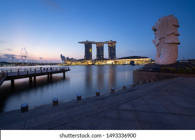 SINGAPORE, SINGAPORE - 06 August 2019 : The Merlion in Merlion Park is a Singapore landmark and major tourist attraction