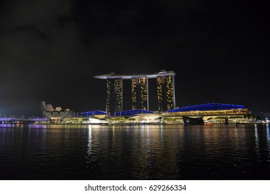 SINGAPORE - 06 March 2017 - Colorful Light and Sound at Marina Bay Sands Hotel