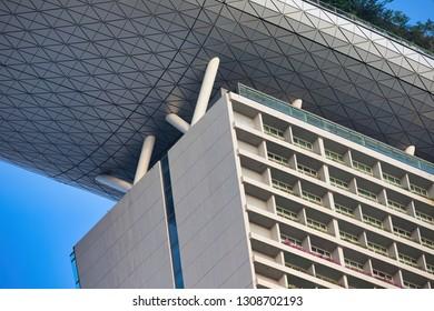 Singapore 07 January 2019, close up of Marina Bay Sands hotel building