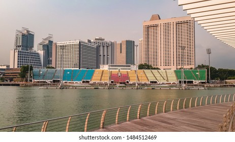 Singapore -08 November 2015 : Tribune of Singapore floating sport platform in the day