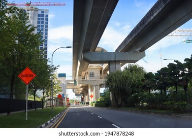 SINGAPORE - 1 APR 2021. A Sengkang-Punggol LRT line station. It is a fully elevated light rapid transit line using automated trains to ferry residents to the busy mass rapid transit MRT stations.