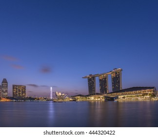 Singapore, 1 July 2015, Modern buildings of Singapore skyline landscape in business district with blue sky, Marina Bay, Singapore