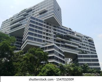 Singapore, 10 31 2019: The Interlace Condominium landscape, famous worldwide architectural design