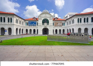 SINGAPORE -10 DEC 2017- Opened in 1996 in a restored mission school, the Singapore Art Museum (SAM) exhibits mostly Southeast Asian contemporary art.