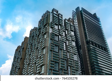 Singapore - 10 November 2017 : Marina One residences building with clear blue sky. Marina One residences is the world class luxurious condominium at Marina Bay, Singapore.
