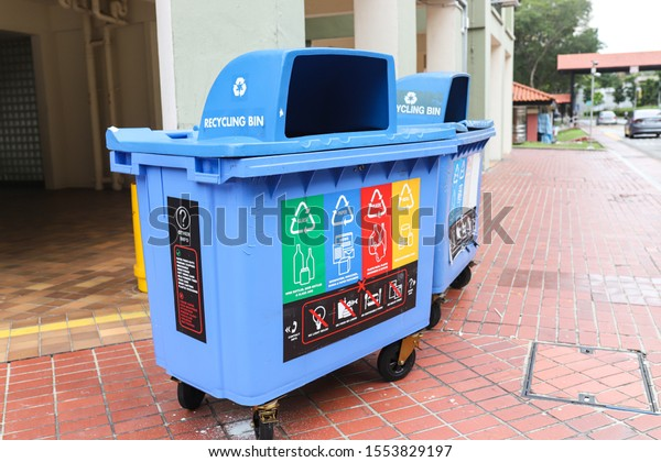 Singapore - 11/8/2019: 2 recycle bins was found at the downstairs of HDB block.