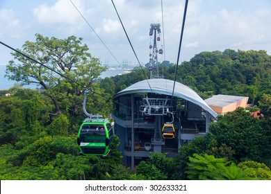 SINGAPORE - 12 July, 2015 : Tourist taking a Skyride  in Sentosa, Singapore. Sentosa is a popular island resort in Singapore.