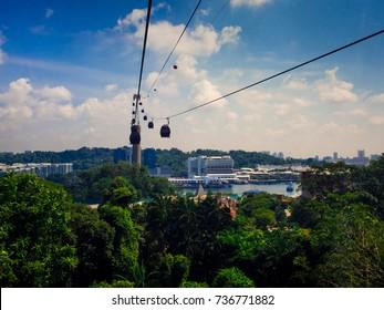 SINGAPORE 12 SEP 2017, Singapore cable car to Sentosa.