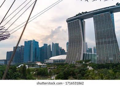 Singapore / Singapore - 12/07/2018: Marina Bay hotel view down from the road
