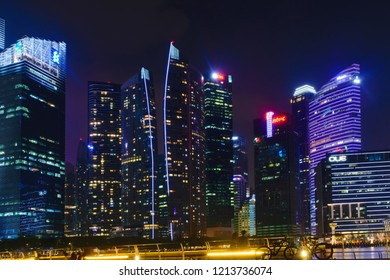 Singapore - 13 October 2018. Business district of skyscrapers at night time
