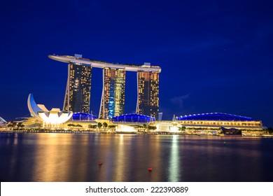 Singapore - 13 September, 2014: Singapore cityscape at night.