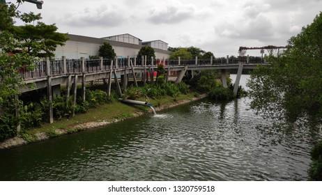 SINGAPORE- 14 FEB, 2019: Sunrise bridge located in Punggol, Singapore