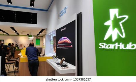 SINGAPORE- 14 MAR, 2019: Customers visit StarHub retail shop in Singapore. StarHub Ltd is one of the three major telcos in Singapore.