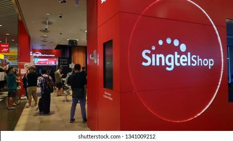 SINGAPORE- 14 MAR, 2019: Customers visit Singtel retail shop in Singapore. singtel Ltd is one of the three major telcos in Singapore.