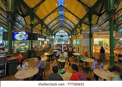 SINGAPORE -15 DEC 2017- The Lau Pa Sat festival market (Telok Ayer) is a historic Victorian cast-iron market building now used as a popular food court hawker center in Singapore.