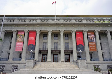 SINGAPORE -15 DEC 2017- Situated in the Civic District, the National Gallery of Singapore is an art museum located in the former Supreme Court building of Singapore.