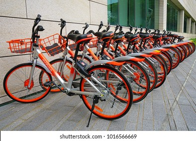 SINGAPORE -15 DEC 2017- View of shared bicycles in Singapore. The main bike sharing companies are Ofo, Mobike and Obike.