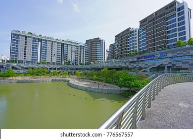 SINGAPORE -15 DEC 2017- View of the Punggol Waterway park located along Sentul Crescent Road in Singapore.