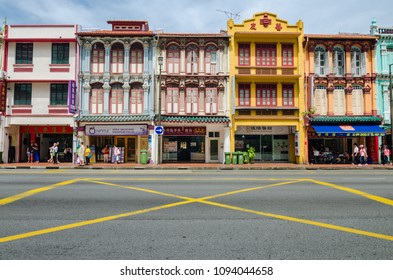 Singapore, 15 July 2017: Colorful heritage buildings at Singapore Chinatown. Chinatown is an ethnic neighborhood featuring distinctly Chinese cultural elements and historically concentrated ethnic.