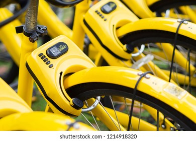 SINGAPORE - 15 SEPTEMBER 2018 - A row of bicycle operated by obike are parking in front of Aljunied station in Singapore.