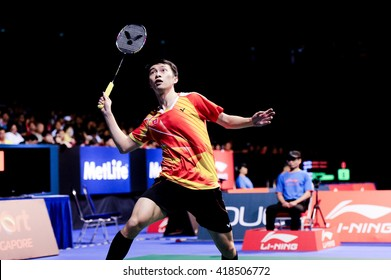 Singapore - 16 April 2016: Mens singles Ng Ka Long Angus of Hong Kong versus Son Wan Ho of Korea in OUE Singapore Open 2016 semi finals.