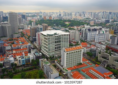SINGAPORE -16 DEC 2017- High view of  downtown Singapore taken from the top of the Andaz Singapore Hotel by Hyatt located in the DUO complex in the Bras Basah Bugis neighborhood.