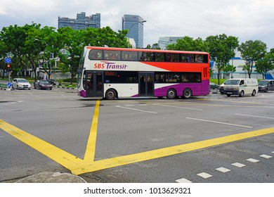 SINGAPORE -16 DEC 2017- View of buses on the street in Singapore. Singapore has an extensive public transport infrastructure.