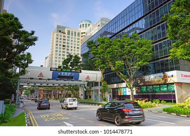 SINGAPORE -16 DEC 2017- View of an Electronic Road Pricing (ERP) toll on the street in Singapore. Singapore has an extensive management of transport infrastructure congestion.