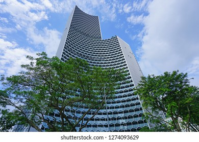 SINGAPORE -16 DEC 2017- View of the DUO galleria, a new building  complex in the Bras Basah Bugis neighborhood in Singapore hosting the Andaz Singapore hotel.