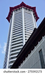 SINGAPORE -17 APRIL 2015- Located on Orchard Road in Singapore, the Tang Plaza includes the TANGS department store, a mall complex, and the Marriott Hotel Singapore.