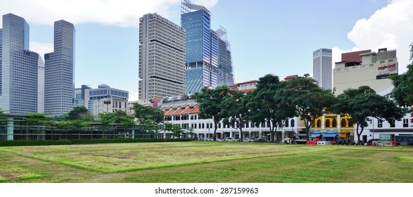 SINGAPORE -17 APRIL 2015- Scenic view of the Singapore skyline near Beach Road and the Fort Canning park in the central area.