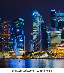 SINGAPORE - 17 Jul 2014: a composite panorama show the skyline of the Central Business District over the Marina Bay, Singapore.