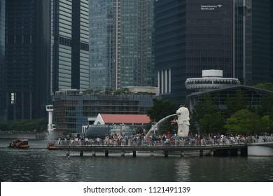 SINGAPORE - 18 JUNE, 2018 : Merlion statue landmark of Singapore