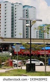 SINGAPORE - 18 MAR 2021. A lamp post in Punggol new town is powered by solar batteries in 2021, reducing the cost of electricity for the Town Council.