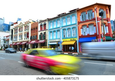 SINGAPORE -18 Nov. 2015- Colorful Peranakan houses in the Chinatown area of Singapore.