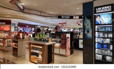 SINGAPORE- 20 FEB, 2019: Cosmetics store at Changi Airport. Changi Airport is the primary civilian airport for Singapore
