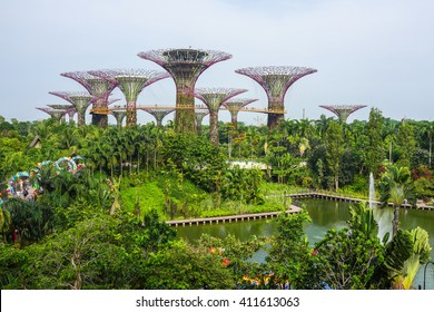 Singapore - 20 September 2015: Aerial view of the botanical garden, Gardens by the Bay in Singapore.